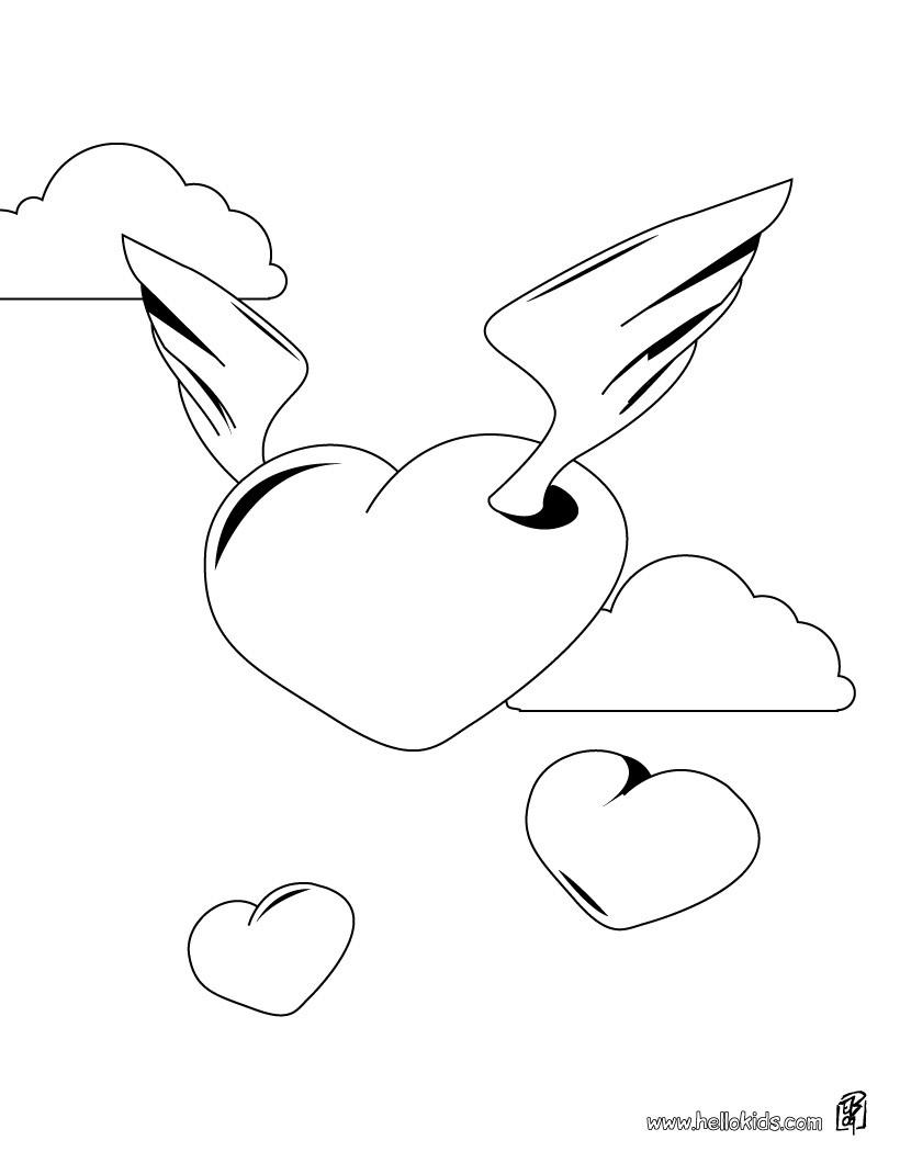 Herz mit flügeln zum ausmalen zum ausmalen - de.hellokids.com