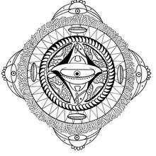 Polynesisches Mandala mit Gesicht, Vogel und Fisch