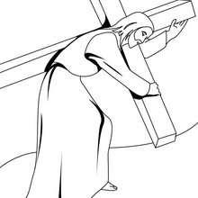 Jesus trägt das Kreuz zum Ausmalen