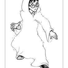 Harry Potter with invisible cape coloring page - Coloring page - MOVIE coloring pages - HARRY POTTER coloring pages - Free HARRY POTTER coloring pages