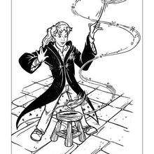 Hermione mit Zauberstab zum Ausmalen