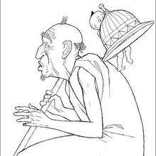 Kiriku und alter Mann zum Ausmalen