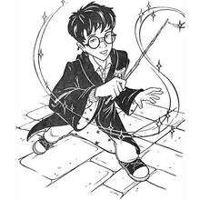 Harry Potter with magic stick coloring page - Coloring page - MOVIE coloring pages - HARRY POTTER coloring pages - Free HARRY POTTER coloring pages