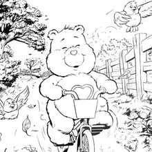 Schmusebärchi mit Fahrrad zum Ausmalen