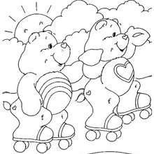 Glücksbärchis fahren Rollerskates zum Ausmalen