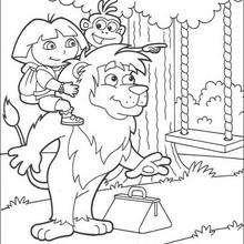 Dora auf der Schaukel zum Ausmalen