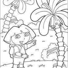Dora mit Palmen zum Ausmalen