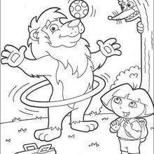 Löwe jongliert mit Dora zum Ausmalen