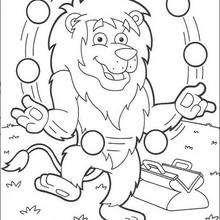 Löwe jongliert zum Ausmalen