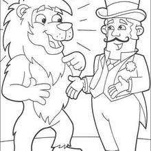 Löwe und der Zirkusdirektor zum Ausmalen