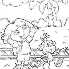 Boots der Affe und Dora zum Ausmalen