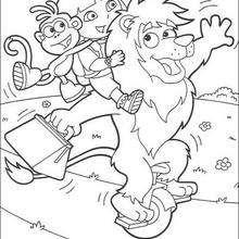 Dora spielt mit Freunden zum Ausmalen
