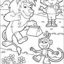 Dora, Boots der Affe und Löwe zum Ausmalen