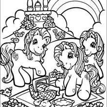 Ponies machen ein Picknick zum Ausmalen