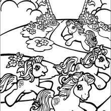 Ponies laufen zum Ausmalen
