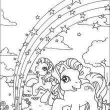 Regenbogen im Ponyland zum Ausmalen