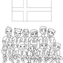 Team of Denmark coloring page - Coloring page - SPORT coloring pages - FIFA WORLD CUP SOCCER 2010 coloring pages - SOCCER TEAMS coloring pages