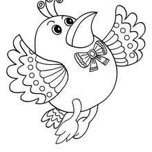 Kawaii Vogel zum online Ausmalen