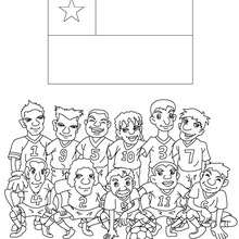 Team of Chile coloring page - Coloring page - SPORT coloring pages - FIFA WORLD CUP SOCCER 2010 coloring pages - SOCCER TEAMS coloring pages