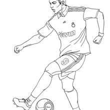 Christiano Ronaldo spielt Fussball zum Ausmalen