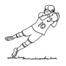 Torwart hält den Ball zum Ausmalen