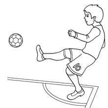 Fussballer spielt eine Ecke zum Ausmalen
