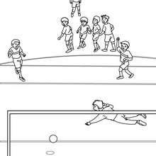 Fussballer schiesst einen Elfmeter zum Ausmalen