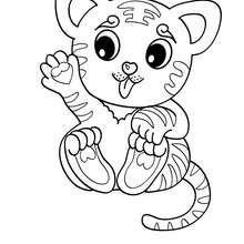 Kawaii Tiger zum Ausmalen