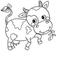 Süße Kuh zum Ausmalen