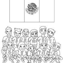 Team of Mexico coloring page - Coloring page - SPORT coloring pages - FIFA WORLD CUP SOCCER 2010 coloring pages - SOCCER TEAMS coloring pages
