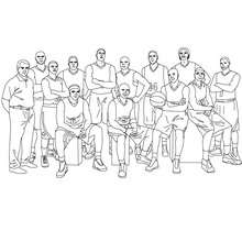 Basketballmannschaft und Trainer zum Ausmalen