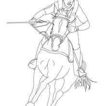 Jockey auf einem galoppierenden Pferd zum Ausmalen