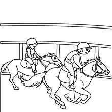 Kinder auf Pferden zum Ausmalen