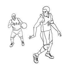 Basketball Spieler macht einen Ballpass zum Ausmalen