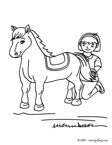 Mädchen putzt ihr pferd zum ausmalen zum ausmalen   de.hellokids.com