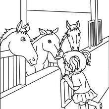 Pferde im Stall zum Ausmalen