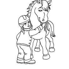 Mädchen füttert ein Pferd zum Ausmalen