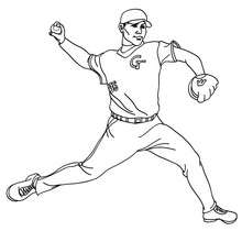 Baseball Pitcher zum Ausmalen