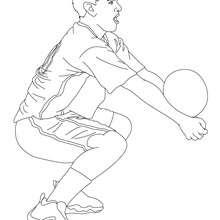 Volleyball Spieler setzt den Ball an zum Ausmalen