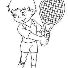 Tennisspieler bereit für das Spiel zum Ausmalen