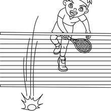 Tennis Spieler schmettert einen Überhandschlag zum Ausmalen