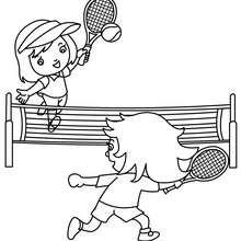 Tennis Platz mit zwei Spielern zum Ausmalen