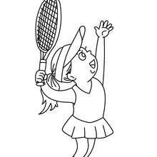 Tennis Spielerin nimmt eine Angabe an zum Ausmalen