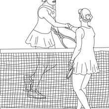 Tennis Spieler geben sich die Hand zum Ausmalen