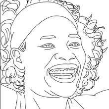 Serena Williams Nahaufnahme zum Ausmalen