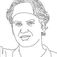 Roger Federer Nahaufnahme zum Ausmalen