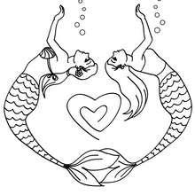 Meerjungfrauen malen ein Herz zum Ausmalen