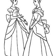 Zwei Prinzessinnen mit Dutt zum Ausmalen
