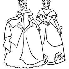 Zwei Prinzessinnen mit Krone zum Ausmalen