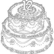 Geburtstagskuchen 12 Jahre zum Ausmalen